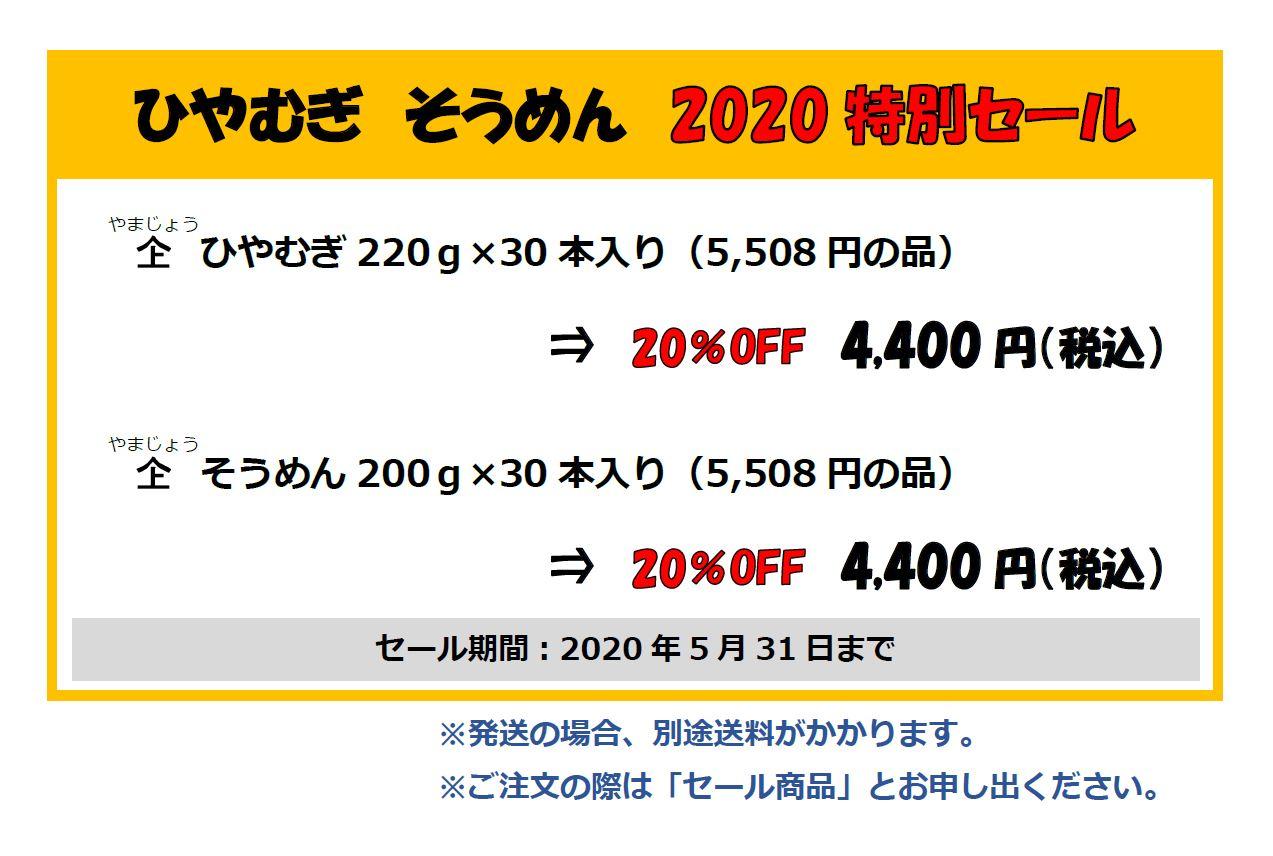 ひやむぎ・そうめん2020特別セール
